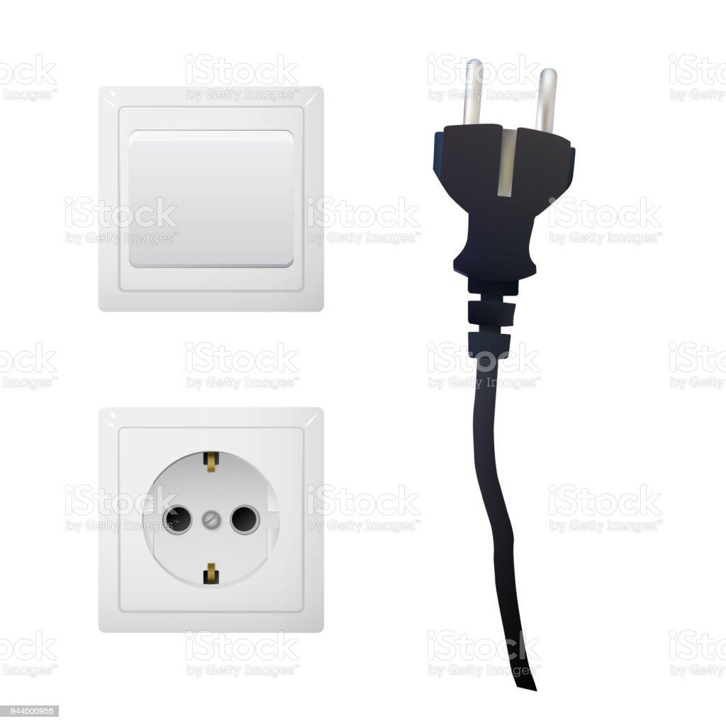Elektrischer Adapter Mit Steckdose Und Schwarzen Schalter Stock ...
