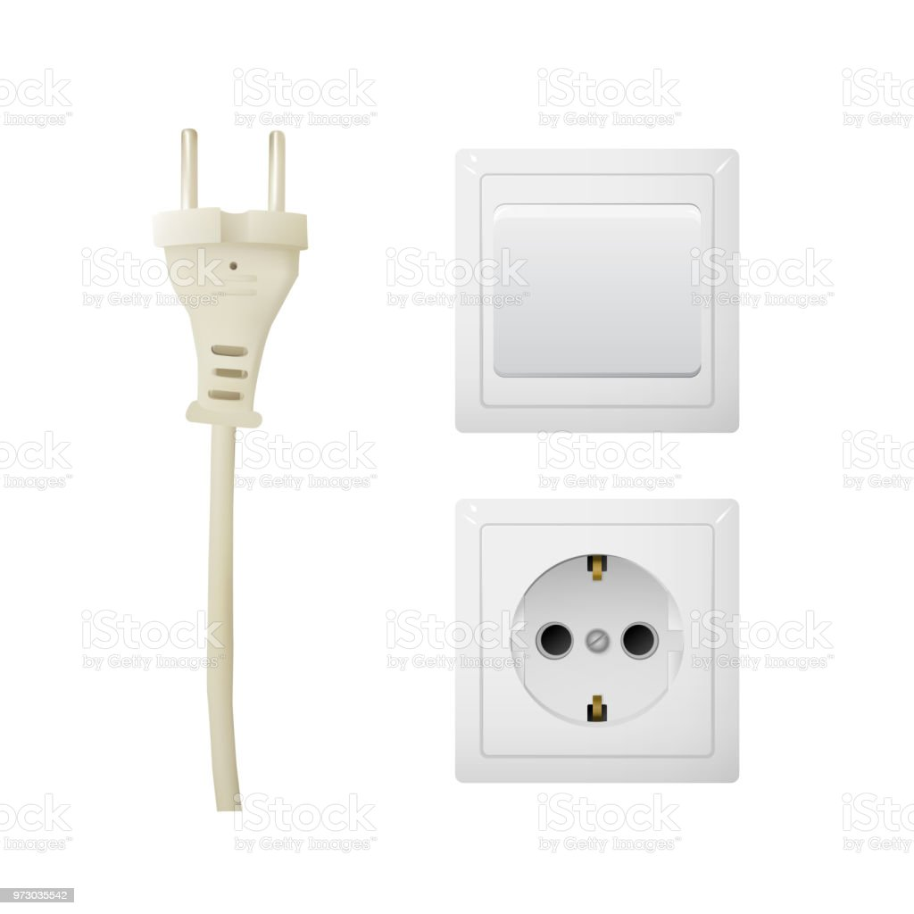 Electrical Adapter With Outlet And Switch Stock Vector Art & More ...
