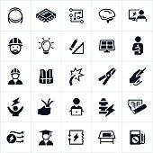 A set of icons related to the Electrical Engineering field. The icons represent symbols associated with electrical engineering and include engineers, electricity, study and common tools used in the industry.
