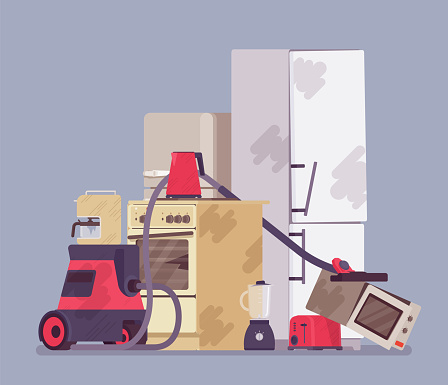 Electrical appliances disposal, amount of used e-waste piled