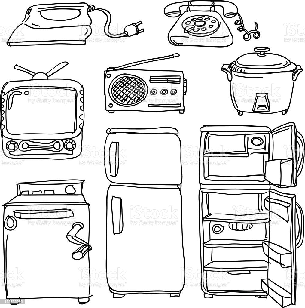 Electrical appliances in sketch style vector art illustration