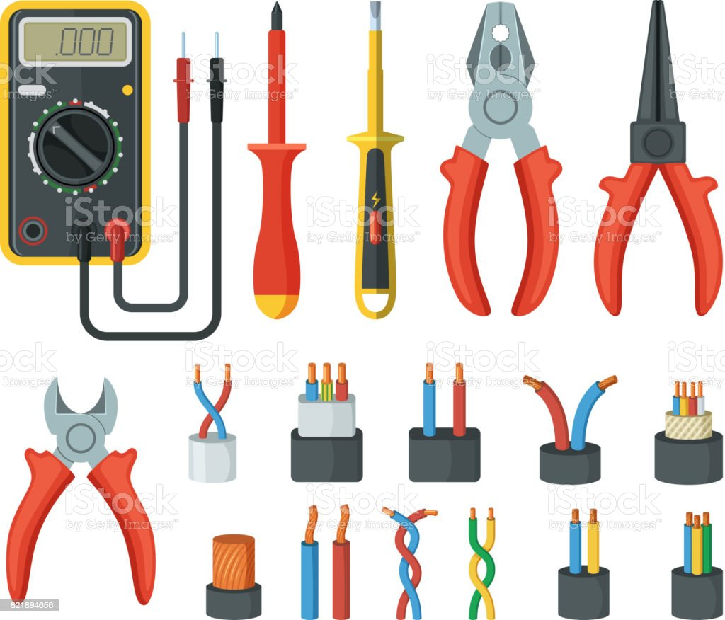 Electrical cable wires and different electronic tools. Cutter, multimeter. Vector illustrations isolated vector art illustration