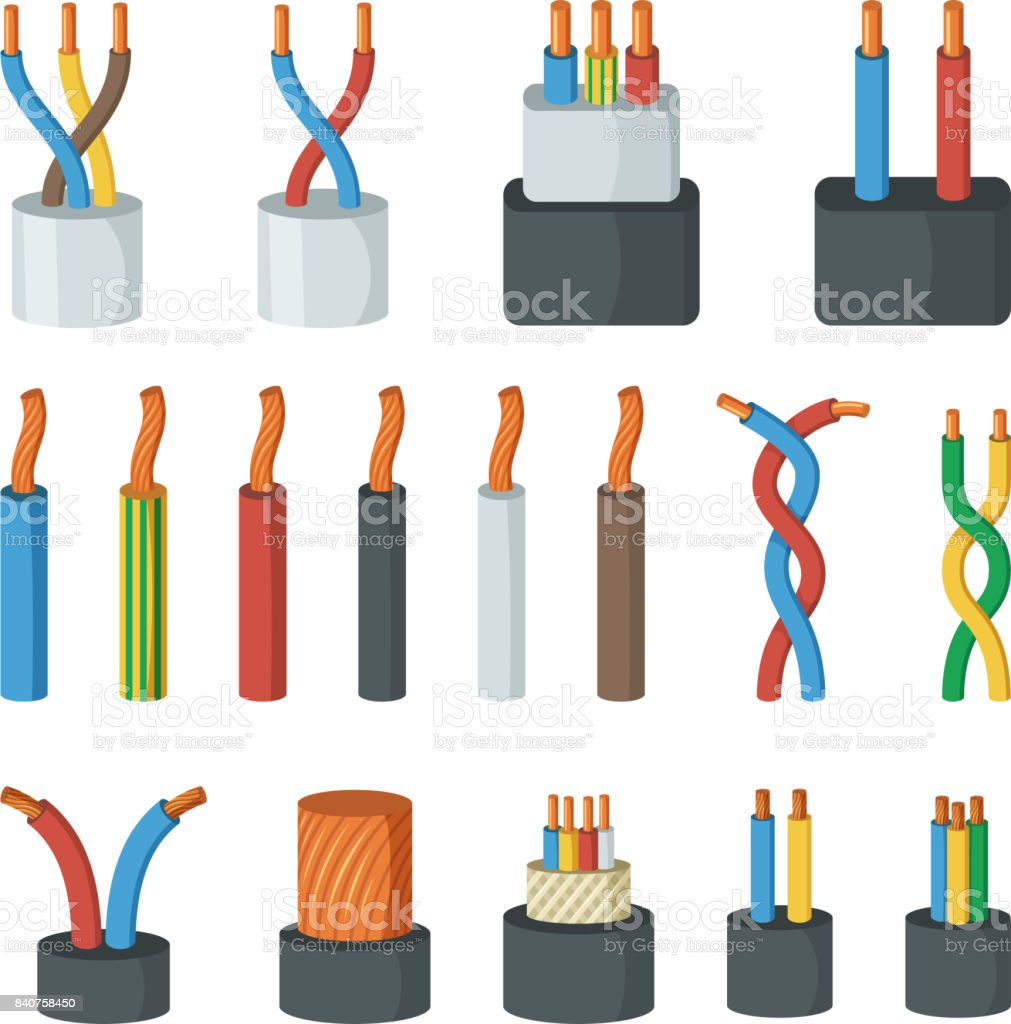 Electrical cable wires, different amperage and colors. Vector illustrations in cartoon style vector art illustration
