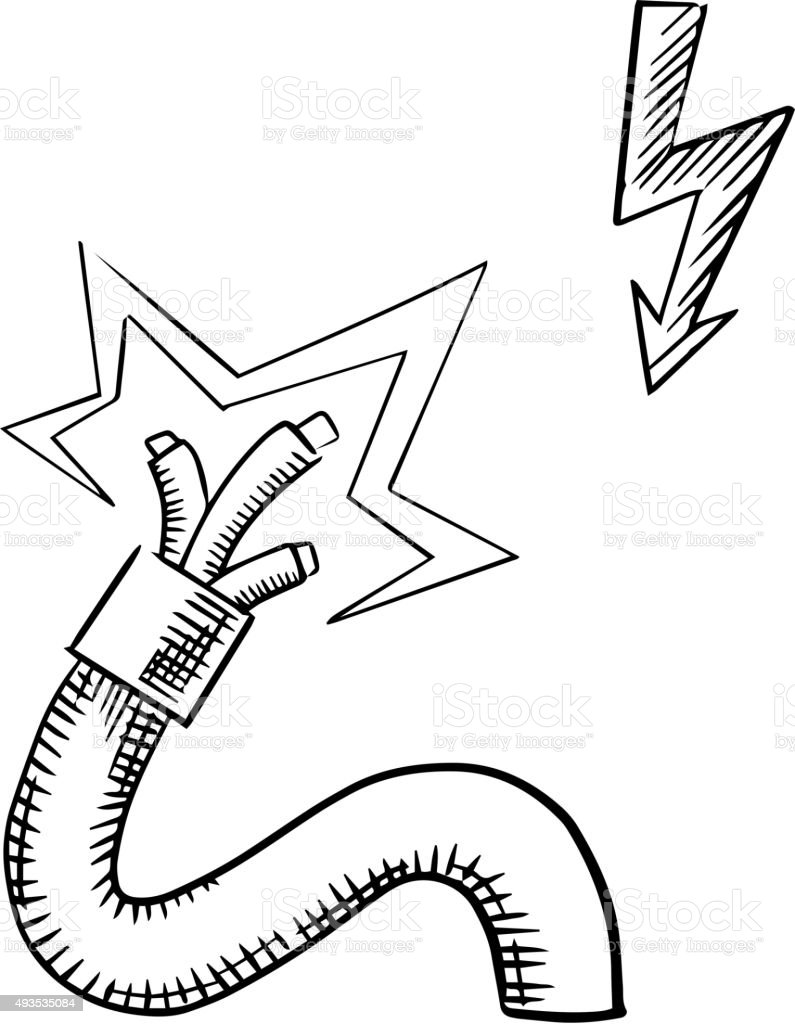 Electrical Cable With Sparkling Bared Wires Stock Vector Art & More ...