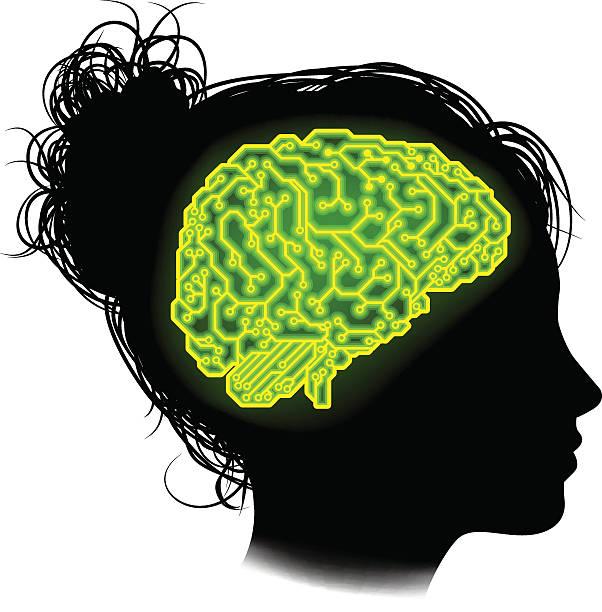 bildbanksillustrationer, clip art samt tecknat material och ikoner med electrical circuit brain woman concept - kvinna ansikte glow