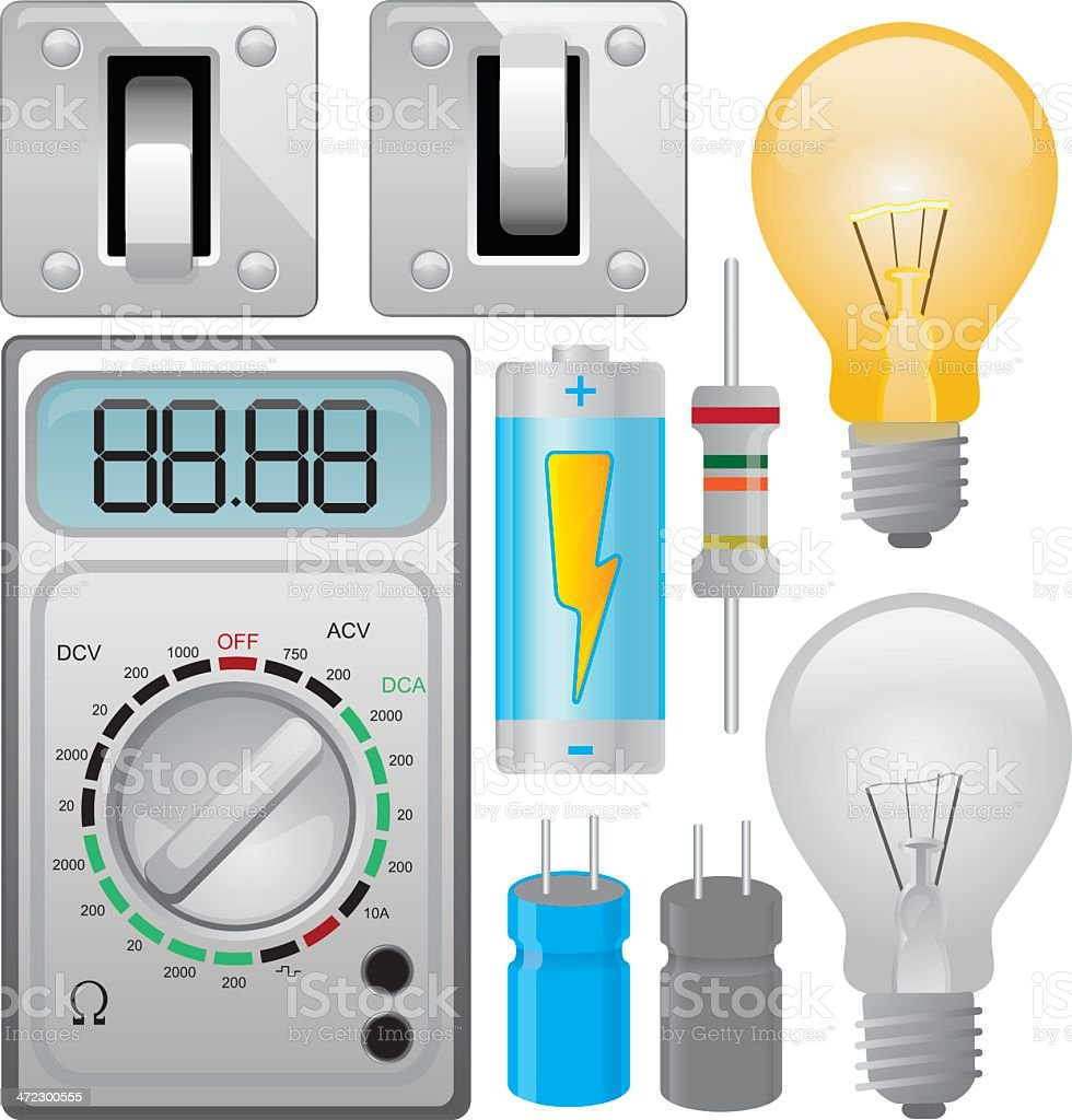 Electrical Components vector art illustration