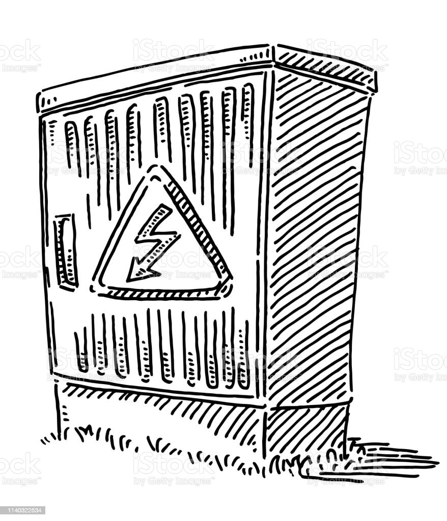 Hand-drawn vector drawing of an Electrical Connection Box with a High...