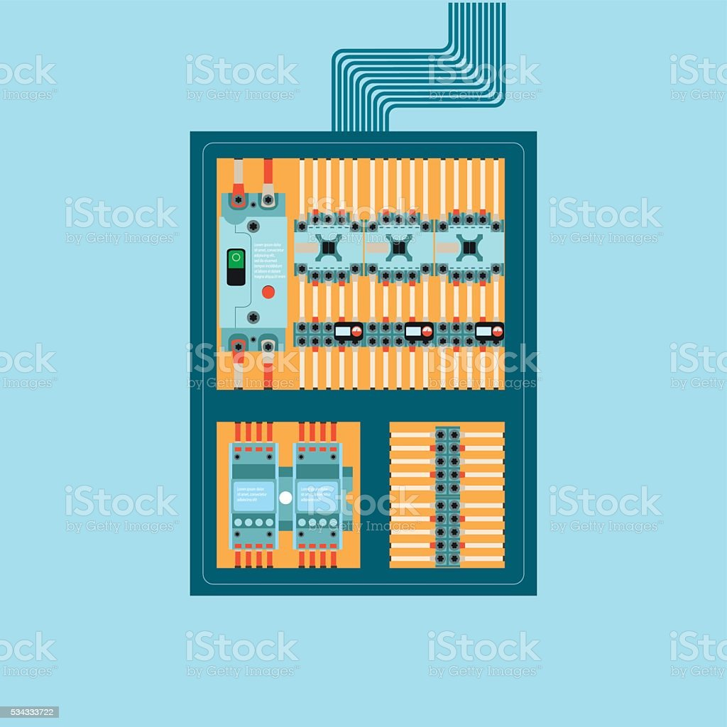 Electrical control wire system in cabinet with buttons and sensors. vector art illustration