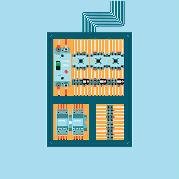 electrical control wire system in cabinet with buttons and sensors  vector  art illustration