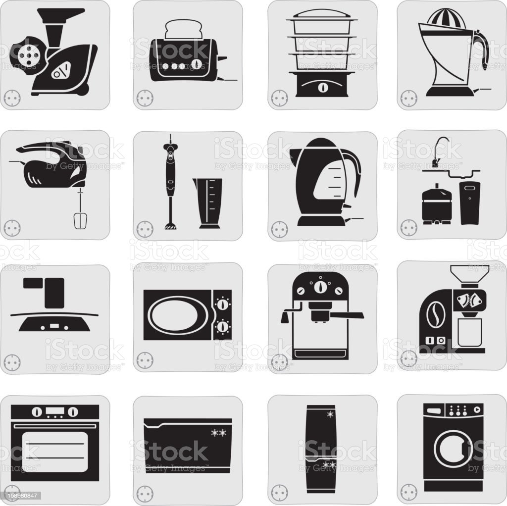 electrical devices in the kitchen royalty-free stock vector art