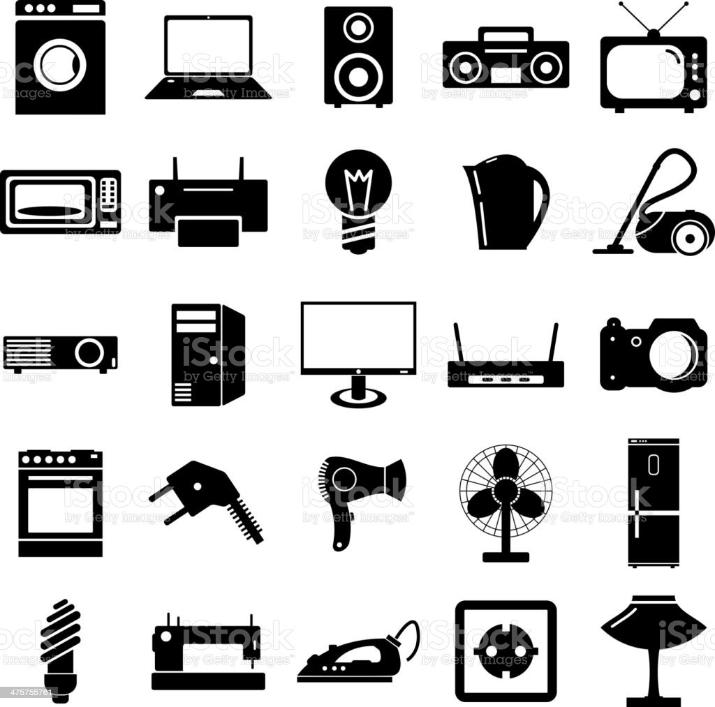 Electrical Devices Symbols Stock Vector Art More Images Of