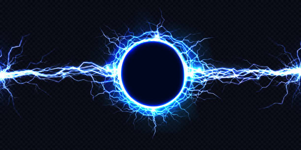 Electrical energy discharge 3d vector light effect Powerful electrical round discharge hitting from side to side realistic vector illustration isolated on black background. Blazing lightning circle strike in darkness Electric energy flash light effect electricity stock illustrations