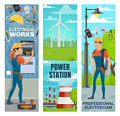 Electrician, energy power and electricity powerplant. Vector banners of electrical repair service, green energy industry of eco windmill and nuclear powerhouse