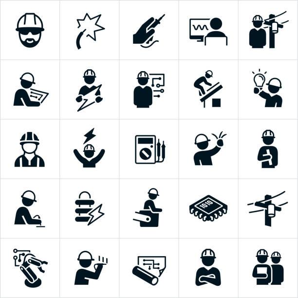 stockillustraties, clipart, cartoons en iconen met elektrische techniek iconen - elektriciteit
