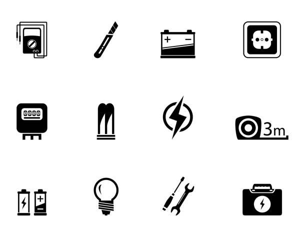 illustrazioni stock, clip art, cartoni animati e icone di tendenza di electrical equipment set - elettrodo