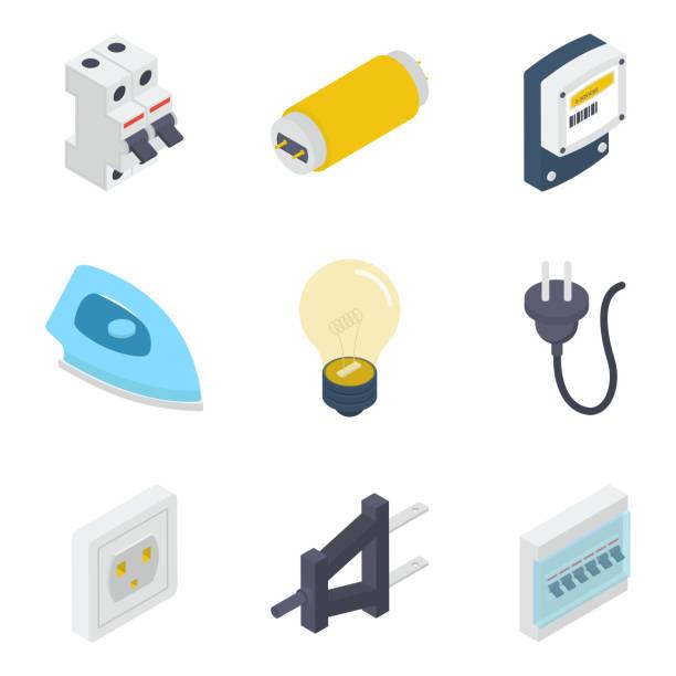 ilustraciones, imágenes clip art, dibujos animados e iconos de stock de paquete de vectores isométricos de equipos eléctricos - amperímetro