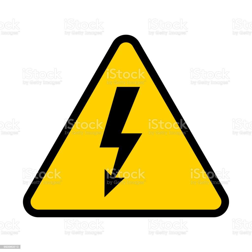 Señal de riesgo eléctrico. Símbolo de peligro de alta tensión. Ilustración de vector - arte vectorial de Alarma libre de derechos