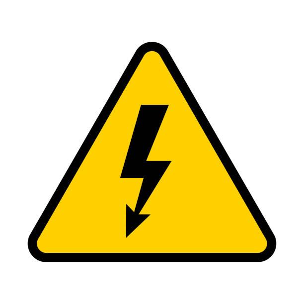 ilustraciones, imágenes clip art, dibujos animados e iconos de stock de señal de riesgo eléctrico. símbolo de peligro de alta tensión. ilustración de vector - electricity