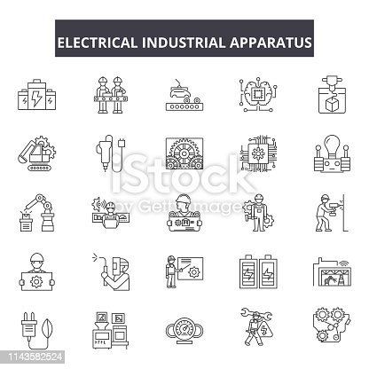 Electrical industrial apparatus line icons, signs set, vector. Electrical industrial apparatus outline concept illustration: apparatus,industry,equipment,electric,isolated,gas