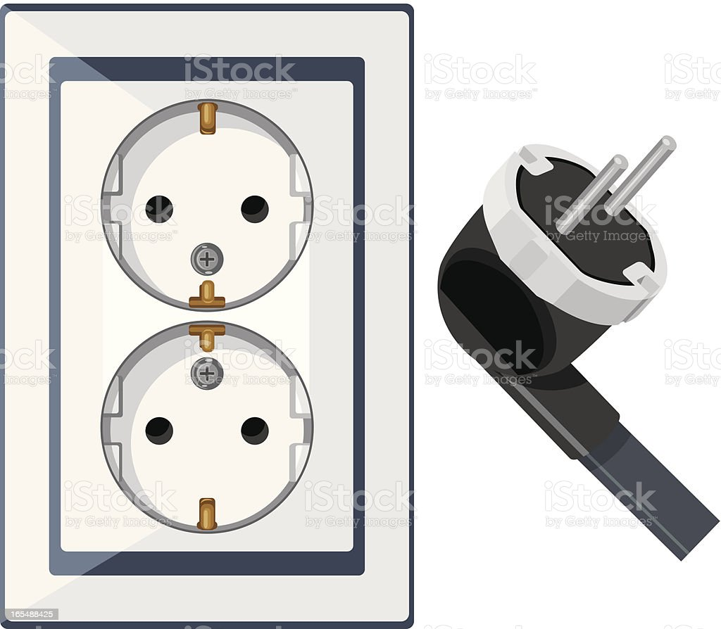 Electrical outlet and plug isolated on the white royalty-free stock vector art