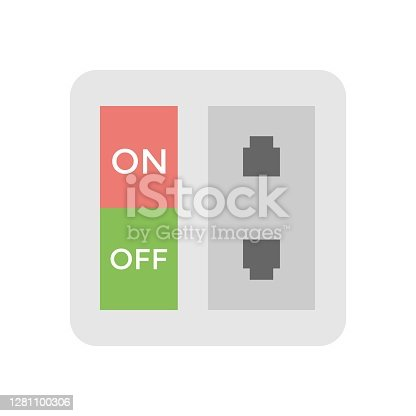 Electrical outlet icon illustration on white background. Power supply socket.