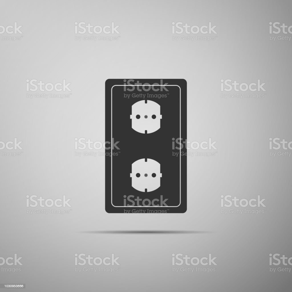 Electrical Outlet Icon Isolated On Grey Background Power Socket