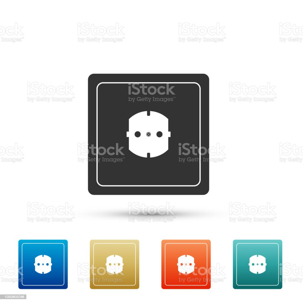 Electrical Outlet Icon Isolated On White Background Power Socket