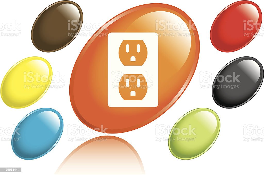 Electrical Outlet Icon vector art illustration