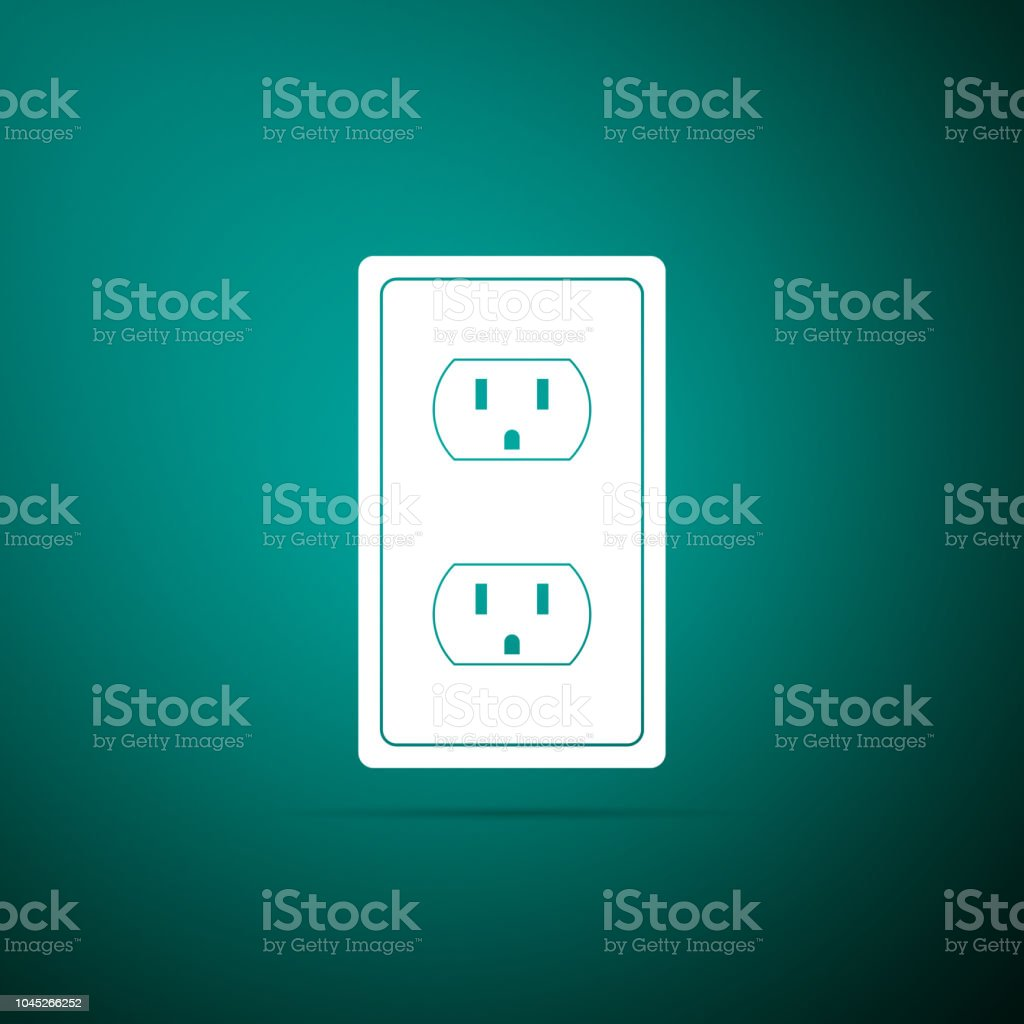 Electrical outlet in the USA icon isolated on green background. Power socket. Flat design. Vector Illustration vector art illustration