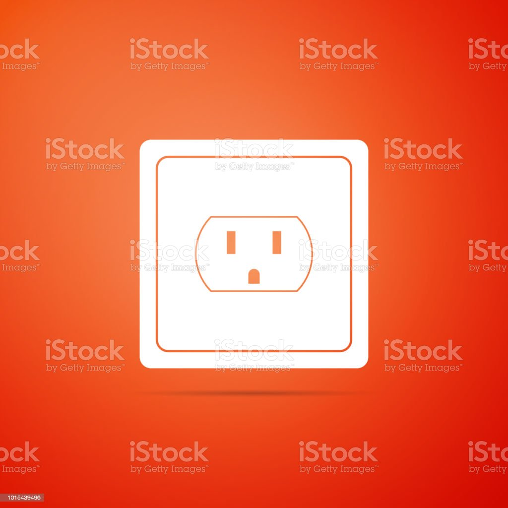 Electrical outlet in the USA icon isolated on orange background. Power socket. Flat design. Vector Illustration vector art illustration