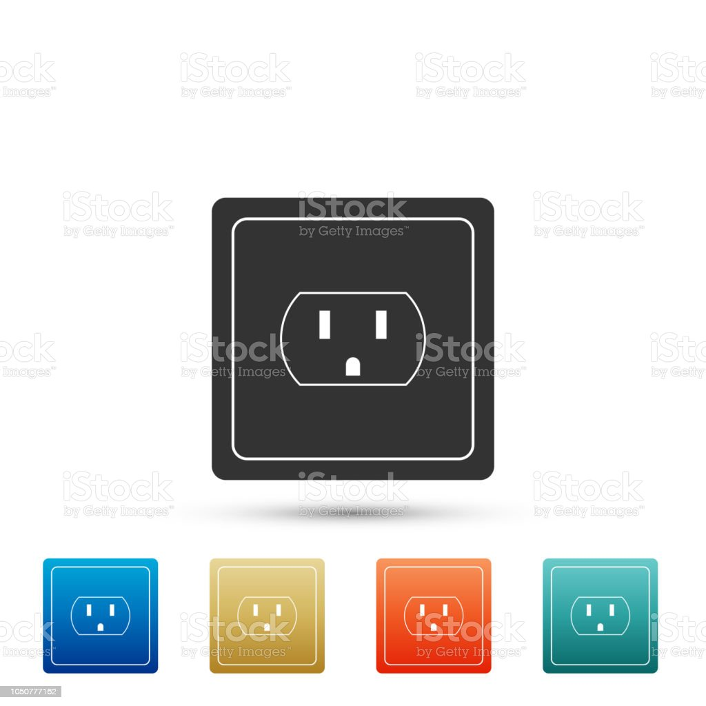 Electrical outlet in the USA icon isolated on white background. Power socket. Set elements in colored icons. Flat design. Vector Illustration vector art illustration