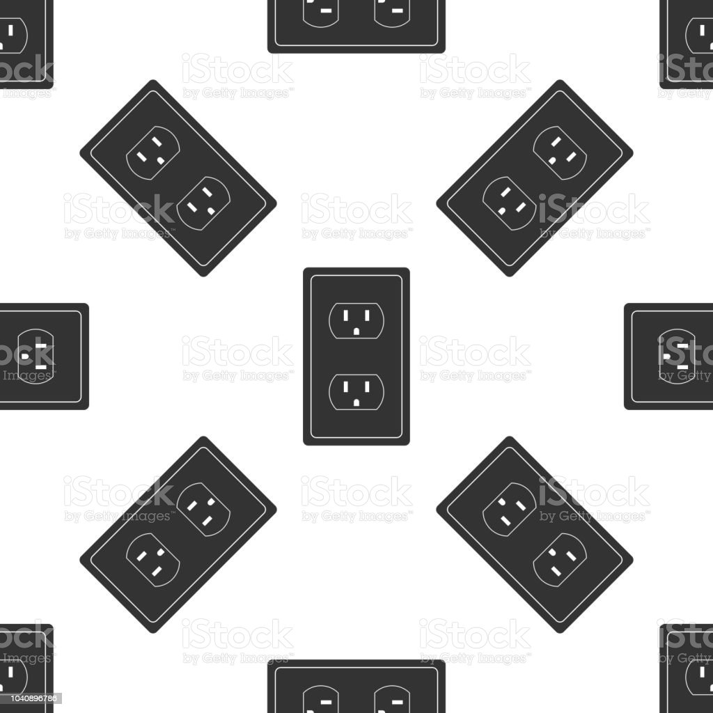 Electrical outlet in the USA icon seamless pattern on white background. Power socket. Flat design. Vector Illustration vector art illustration