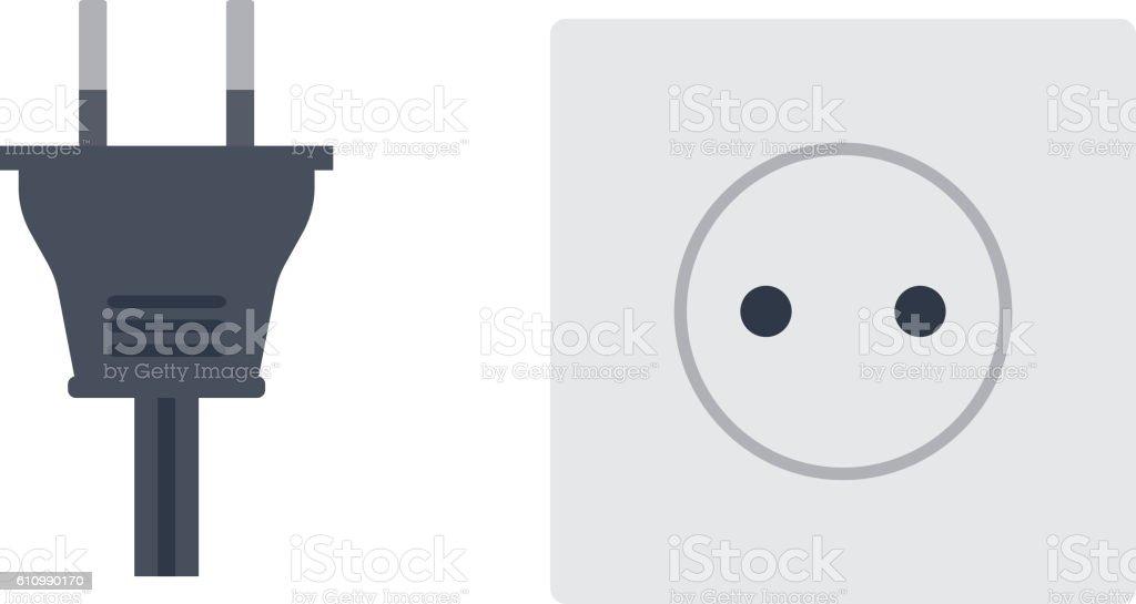 Electrical outlet plug vector illustration. vector art illustration