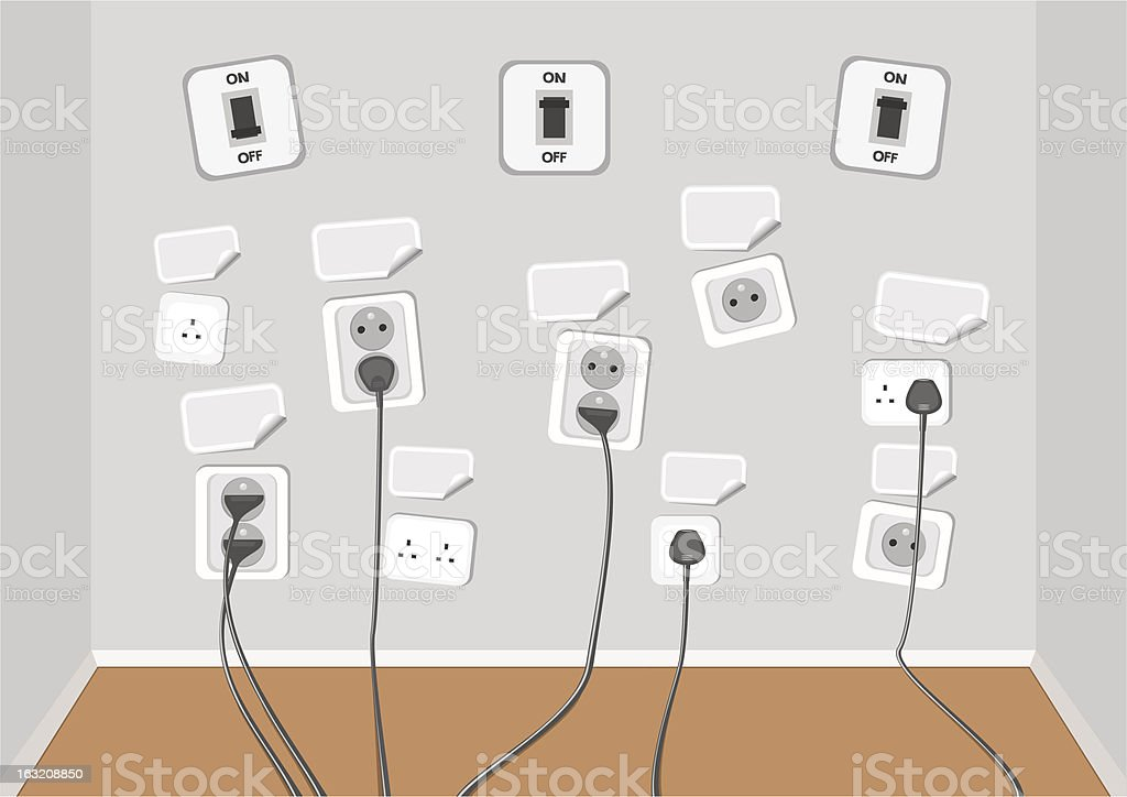 Electrical outlets with several connected cables royalty-free stock vector art