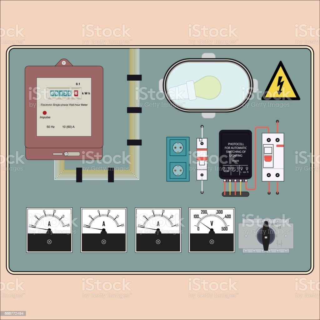 electrical plan vector schematic diagramelectrical panel sensor stock vector art \\u0026 more images of amperage rain gutter vector electrical
