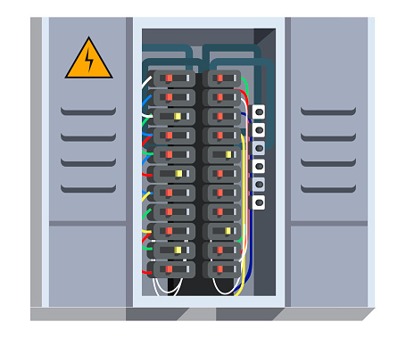 Electrical panel with switcher vector illustration