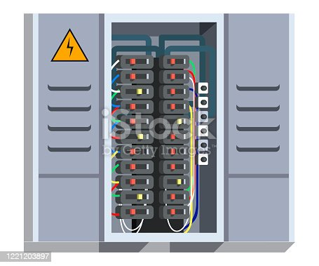 Electrical panel with switcher, fuse, contactor, wire, automatic circuit breaker isolated on white background. Stainless steel switchboard box. Wiring maintenance repair service. Power distribution