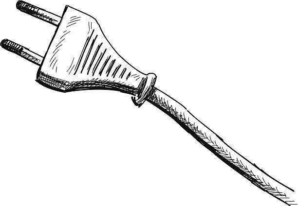 Power Cord Clip Art : Royalty free unplugged power cable drawing clip art