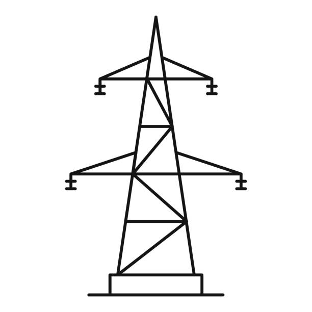 Electrical power station icon, outline style Electrical power station icon. Outline illustration of electrical power station vector icon for web electricity pylon stock illustrations