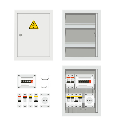Electrical power switch panel with open and close door. Fuse box. Isolated vector illustration in flat style