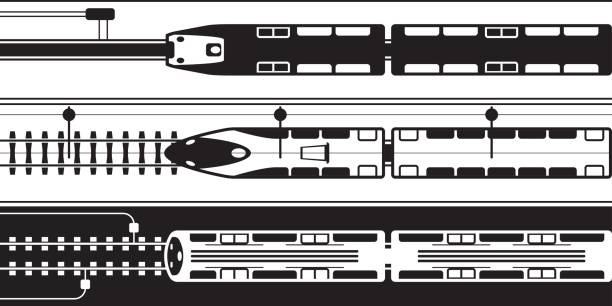 Electrical rail trains from above Electrical rail trains from above - vector illustration high speed train stock illustrations