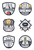 Electrical service retro badges of energy industry. Light bulb, cable and pliers, nuclear power station, solar energy battery, hard hat and stepladder on shields for emblem or symbol design