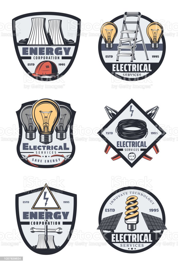 Electrical service and power industry retro badges vector art illustration