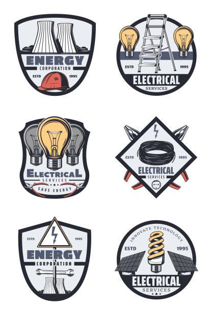 ilustrações, clipart, desenhos animados e ícones de elétrica de serviço e emblemas retrô da indústria de energia - eletricista