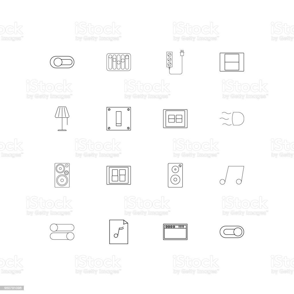 Elektrische Einfache Lineare Symbole Festgelegt Skizzierten ...