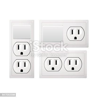 prise de courant de type b avec interrupteur prise de courant r aliste des usa et du japon les. Black Bedroom Furniture Sets. Home Design Ideas