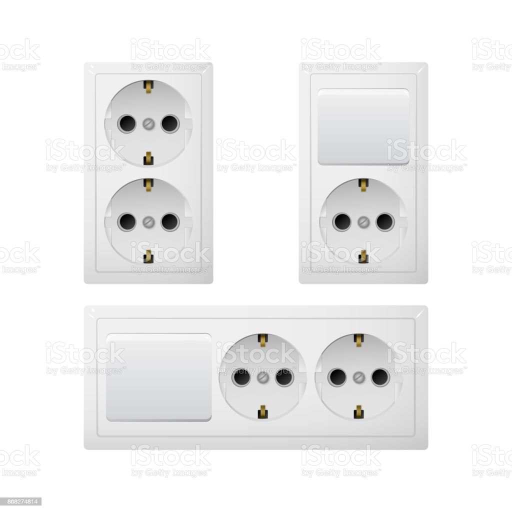 Electrical Socket Type F With Switch Power Plug Stock Vector Art ...