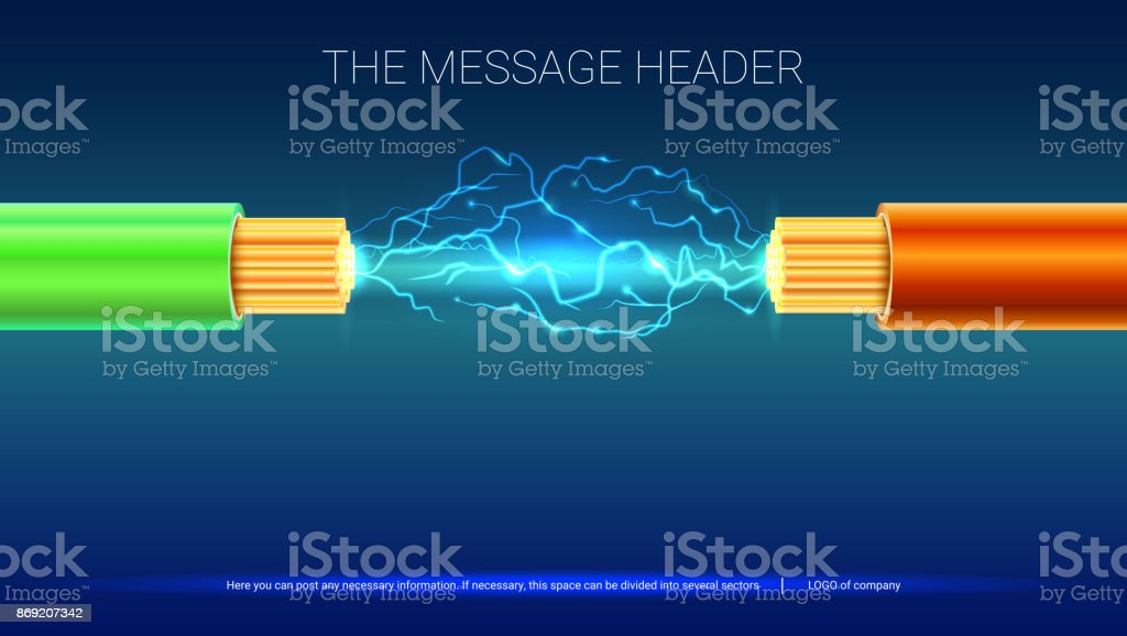 Electrical Spark Between Two Insulated Stranded Copper Wires Electric Cable With Sparks Horizontal