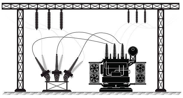 stockillustraties, clipart, cartoons en iconen met electrical substation. the high-voltage transformer and switch. black white - hoogspanningstransformator