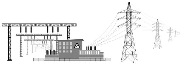 Electrical substation with high voltage lines. Transmission and reduction of electrical energy. Electrical substation with high voltage lines. Transformers and substation buildings. Transmission and reduction of electrical energy. power station stock illustrations